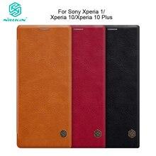 """Nillkin pour Sony Xperia 1 pour Xperia 10 10 Plus étui Vintage Qin Ultra Flip étui en cuir PU avec fente pour carte 6.5 """"6"""""""