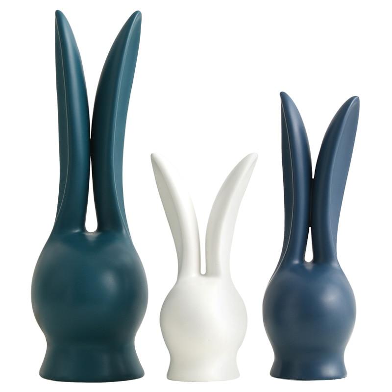 cute three ceramic white rabbit statue home decor crafts room decoration ornament porcelain animal figurines wedding decorations