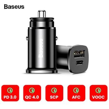 Baseus 30 W de carga rápida 4,0 AFC 3,0 SCP cargador de coche para iPhone XS Max Xiaomi mix3 PD USB tipo C La carga rápida del teléfono del coche cargador