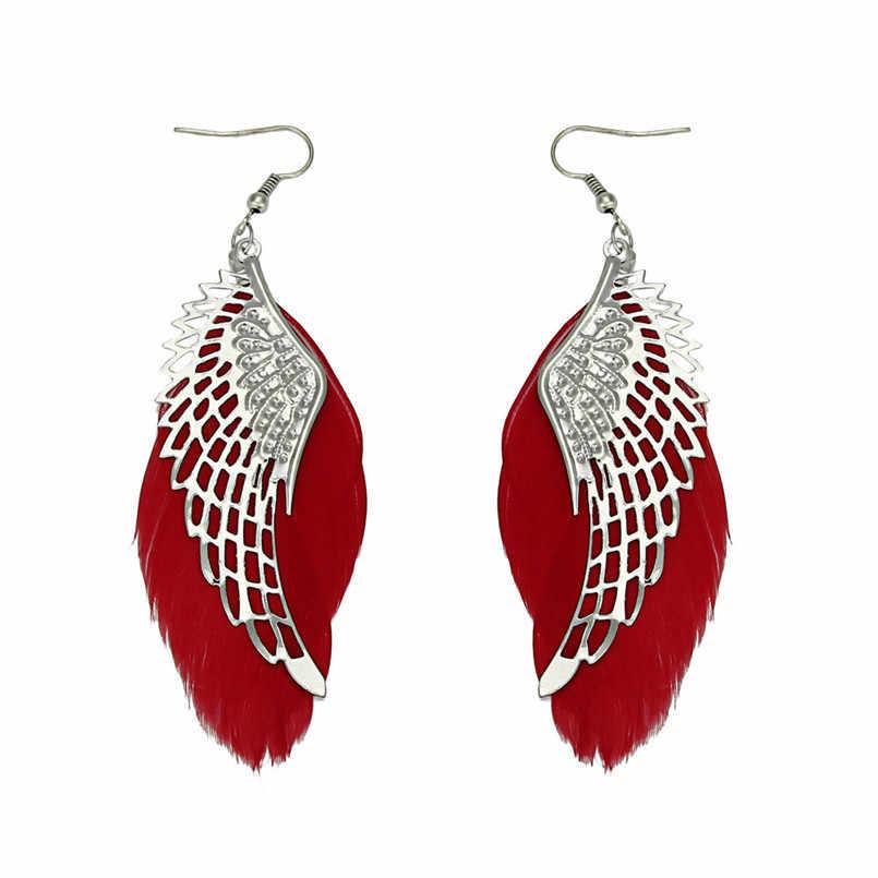 Angel Metal Wing Bohemian Handmade Vintage Feather Long Drop Earrings10.4