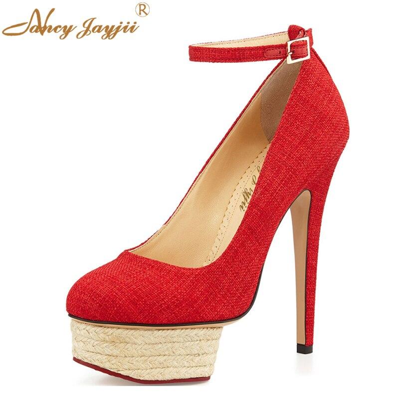 Schuhe Schwarz Ankle Gre 16Schwarzrot Pumps Oberen Heels Runden Zehe Frauen e 5 Gro Strap Plattform Denim Nancyjayjii PartyHochzeit Rot Und tBoxrdQCsh