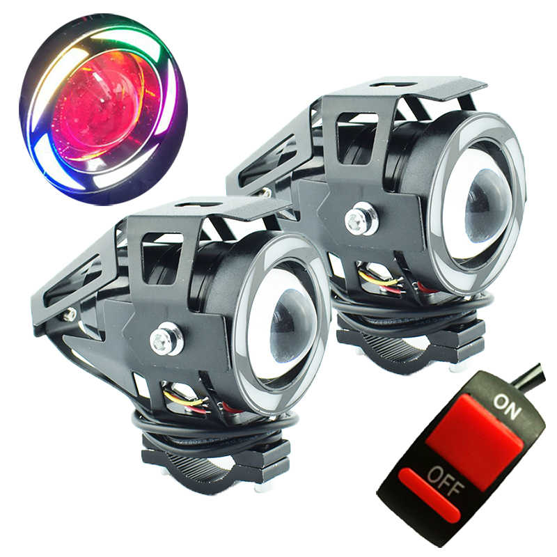 2pcs 12V 125W Motorcycle LED U7 5 Colors Headlights Motorbike Auxiliary Driving lights 6500k moto Fog lamp Work Lights Headlamp
