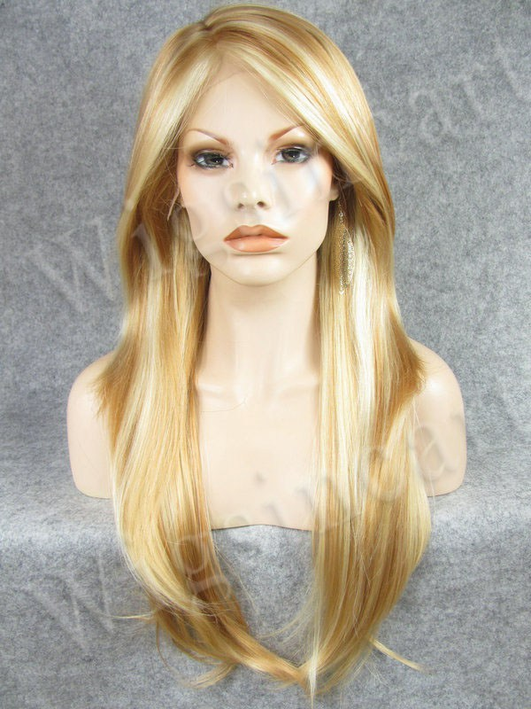 Hot Selling Silky Straight Synthetic Golden Blonde Hair Front Lace