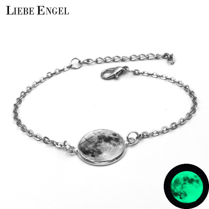 LIEBE ENGEL Glowing In The Dark Galaxy Small Moon stainless Bracelet For Women Jewelry Luminous Vintage Link Chain