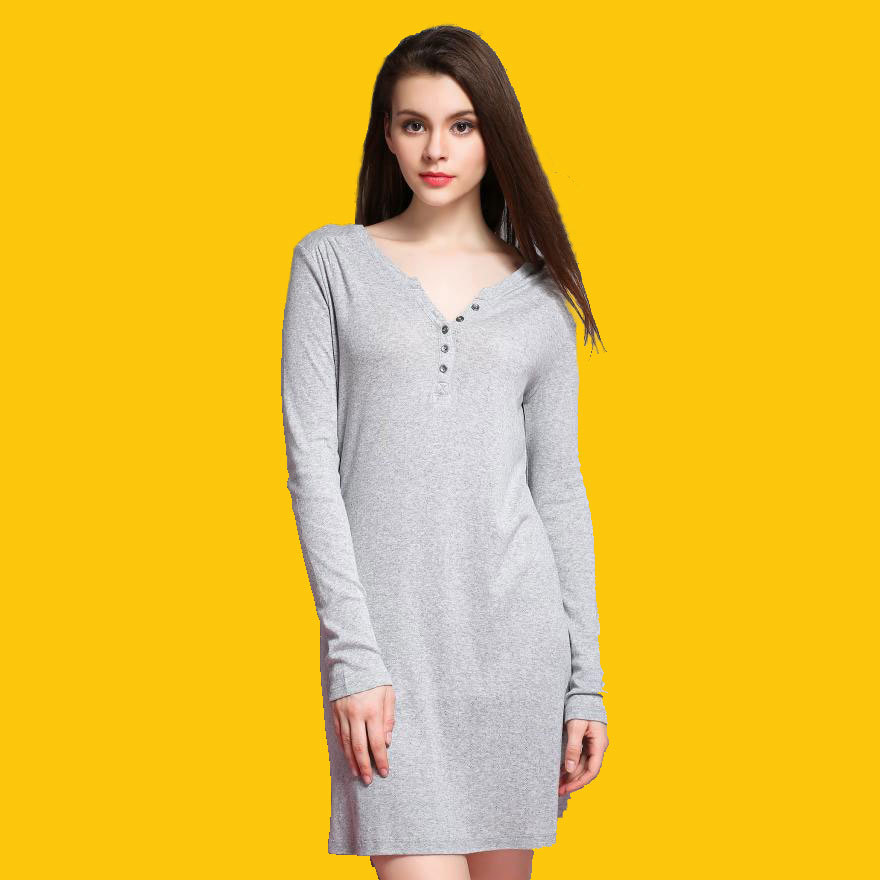 Ladies cotton nightdress sleeping wear long sleeve elegant Long cotton sleep shirts