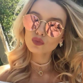 HapiGOO Rose Gold Round Sunglasses Women Fashion Brand Designer Metal Frame Steam Punk Vintage  Mirror Sun Glasses for Female