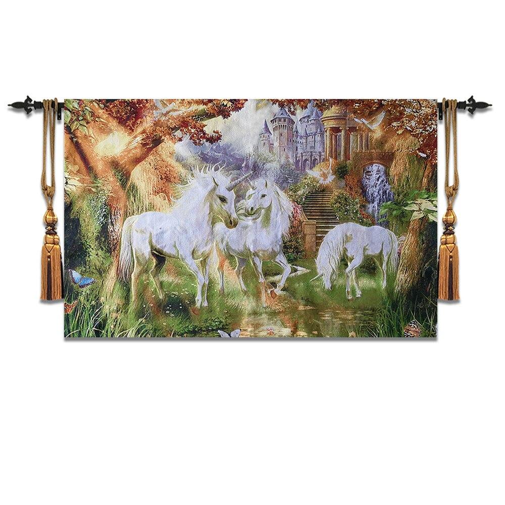 77*120 cm belgique tapis mural marocain décor colth Gobelin décoration de la maison tissu salon peinture textile licorne