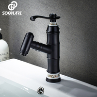 SOGNARE Pull Out Basin Faucets Mixer Taps Single Hole Bathroom Faucets Black Bathroom Sink Faucet Diamond