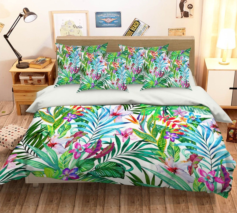 Bettwäsche Harley Davidson 4 Piece Bed Sheets Set Tropical Wild Orchid Flowers With Palm