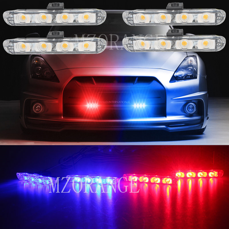 4x4/led DC 12V Strobe Warning Light Net Light Car Truck Light Flashing Firemen Lights 4 in 1 LED DRL Ambulance Police light цена