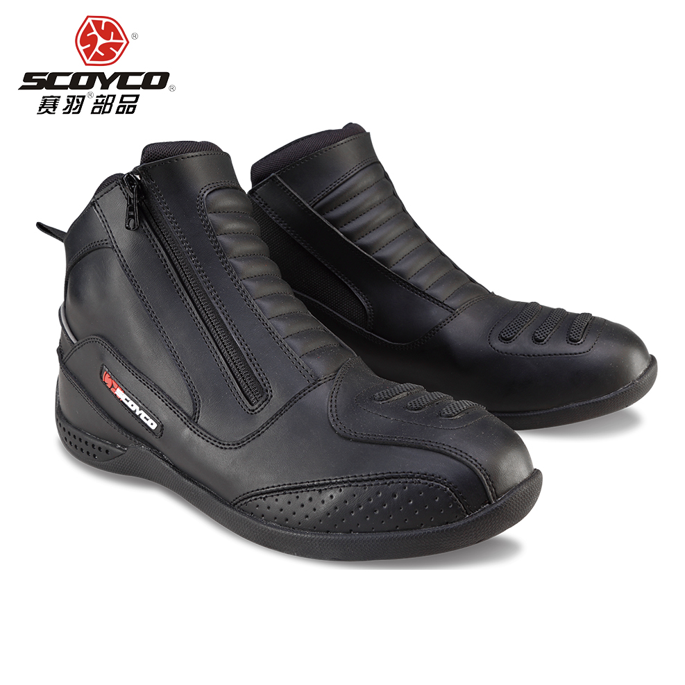 SCOYCO Motorcycle Real leather Boots Reflective Racing Shoes Riding sport road city SPEED professional botas boots MBT002