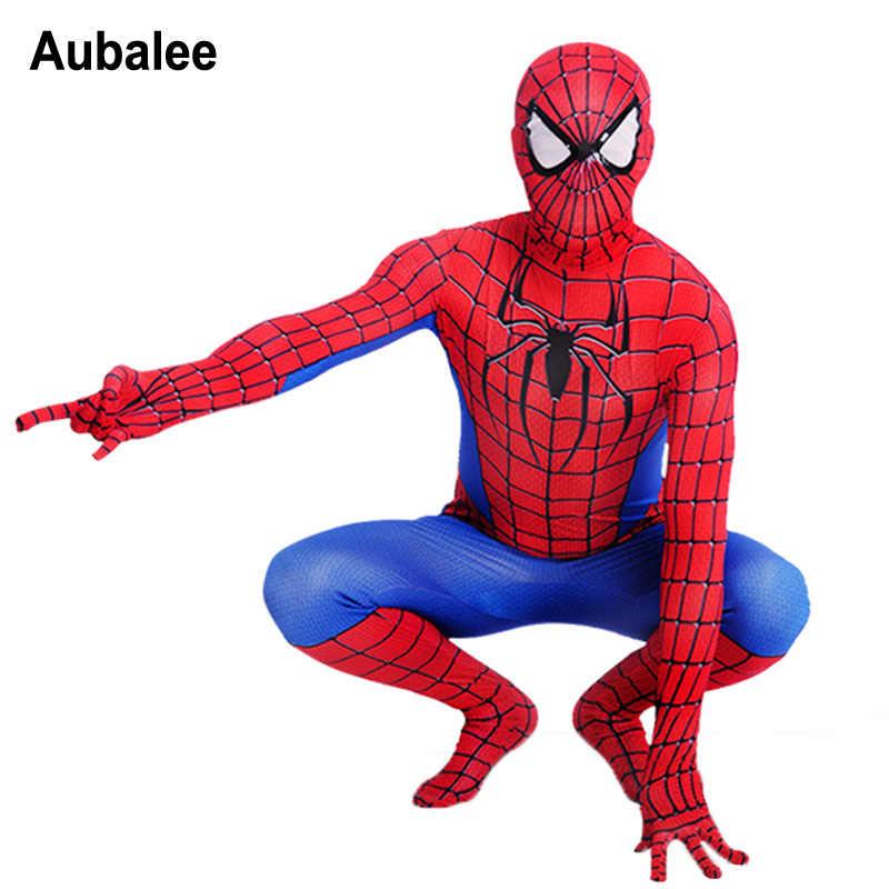 Traje Zentai de hombre araña para adultos Marvel lycra de superhéroe mono de película Red Spiderman Cosplay disfraz de Halloween