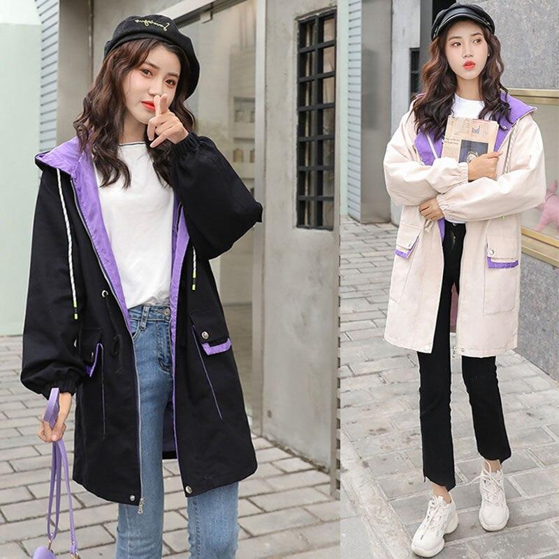 Harajuku Windbreaker 2019 New Women Long Sleeve Hooded Casual Zipper Long   Trench   Coat Spring Autumn Loose Girls Overcoat V512