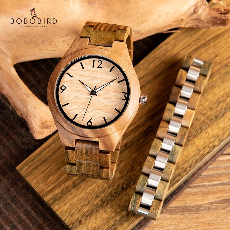 BOBO oiseau vert bois de santal hommes montre pointeur lumineux bois montres classiques Verawood montres accepter LOGO livraison directe