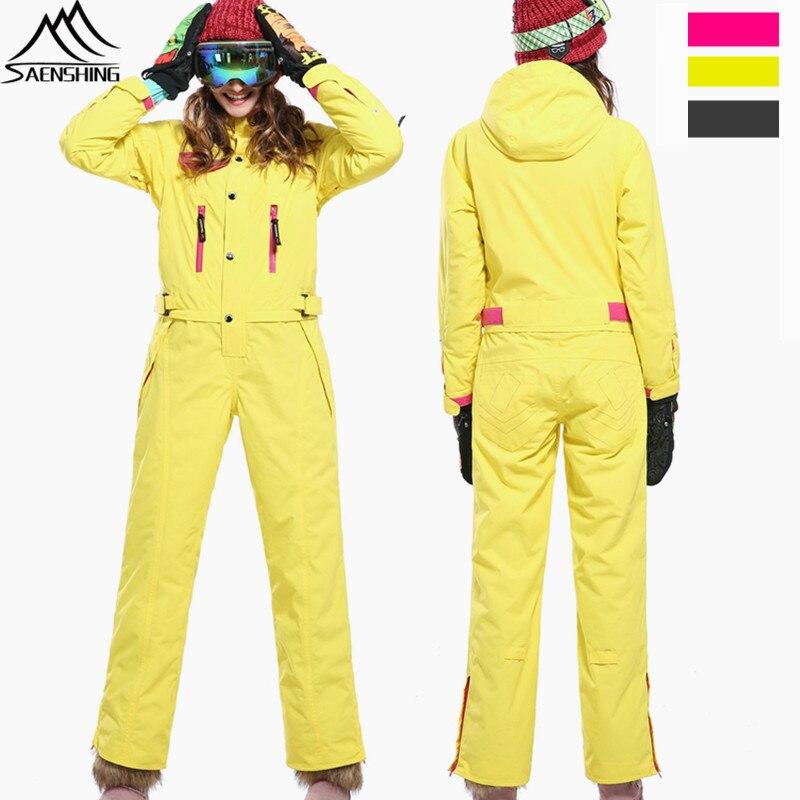 SAIGNEMENT Hiver Ski Costume Femmes Étanche Ski veste Pantalon Salopettes De Planche À Neige En Plein Air Femelle Épaissir Chaud Ensemble Combinaison De Neige