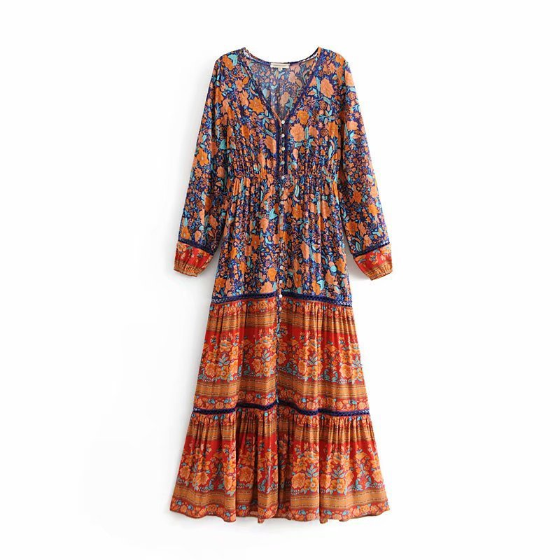 c050d7d9a63 Women Vintage Boho Floral Print Maxi Dress 2019 Spring Long Sleeve ...