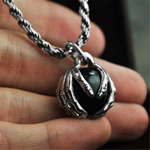 925 Silver Black Stone Pendant Necklace