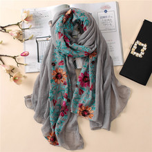 Plain Embroidered Floral Viscose Scarf Shawl From Indian Bandana Print Cotton Scarves and Wraps Foulards Sjaal Muslim Hijab