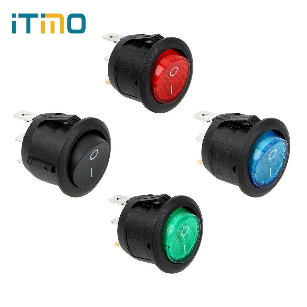 ITimo 4pcs/Set ON-OFF 220V Illuminated Round Rocker Switch