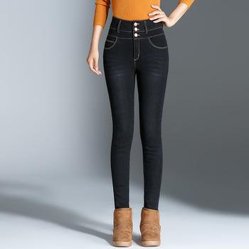 ACRMRAC odzież damska wiosna i jesień dżinsy wysokiej talii dżinsy zima utrzymać ciepłe grube spodnie wąskie dżinsy ołówek spodnie Skinny w dół dżinsy kobiet rok 002 tanie i dobre opinie Kobiety Jeans Bleach Mycia Kamienia Średni Wiskoza Poliester Elastan COTTON Porysowany Tassel Kasetony Plisowana Kieszenie