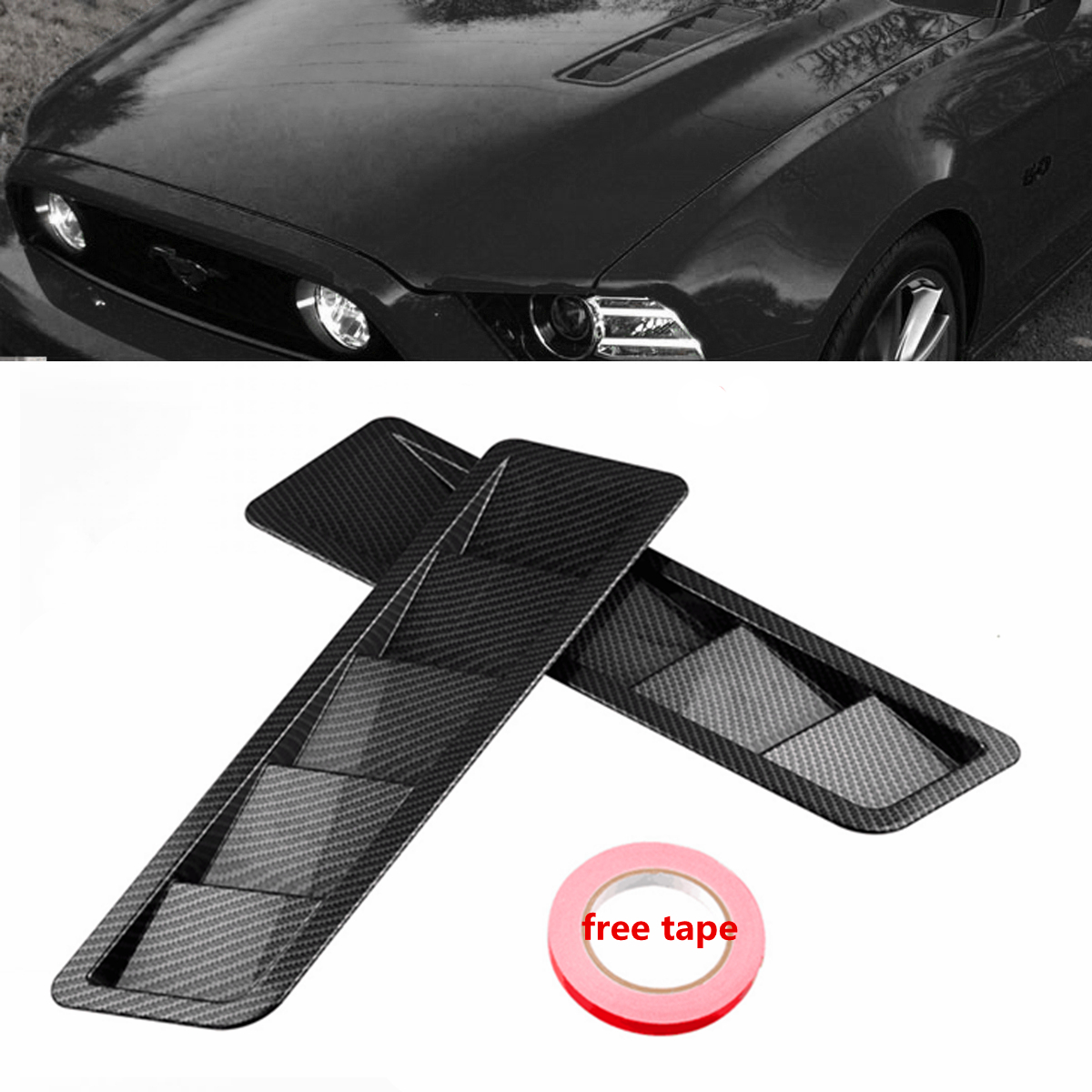 2pcs Bonnet Hood Exterior Vent Grille Cover Air Flow Intake Hood Self-Adhesive Louver Window Cooling Panel For Mustang grille