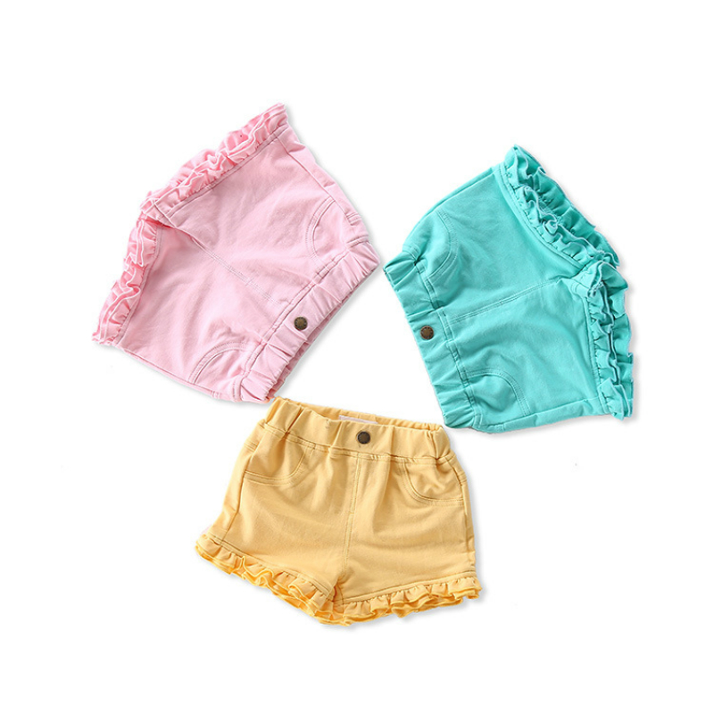 2018 Summer Short Fille Cotton Ruffle Baby Shorts Knitting Toddler Girls Shorts Kids Baby Girl Casual Short Pants Kids Clothes ruffle hem solid shorts