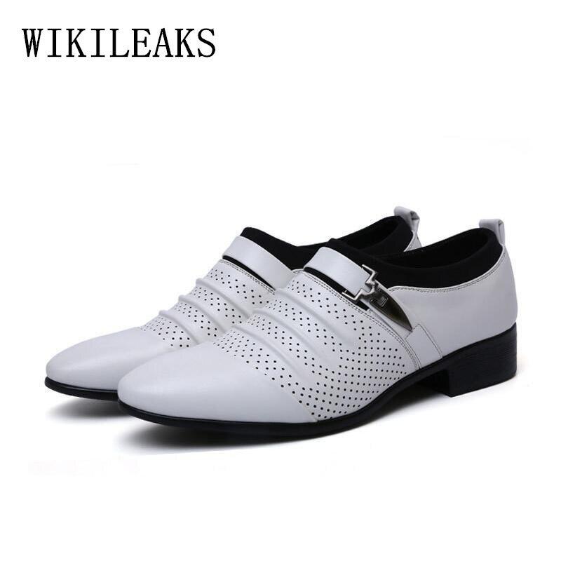 Schuhe Oxford Noir Pour marron D'été Cuir Herren blanc Out Hombre 2019 Mocasines Homme En Habillées Hommes Mocassins Creux Chaussures 8axSqz6w