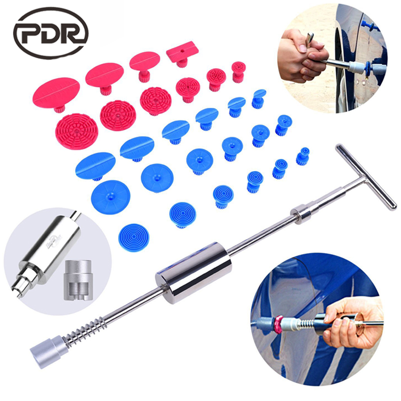Kit di Strumenti PDR Dent Puller Slide Hammer Reverse Hammer PDR Colla Schede Funghi di Tazza di Aspirazione Per Dent Rimozione Ammaccature senza vernice di riparazione
