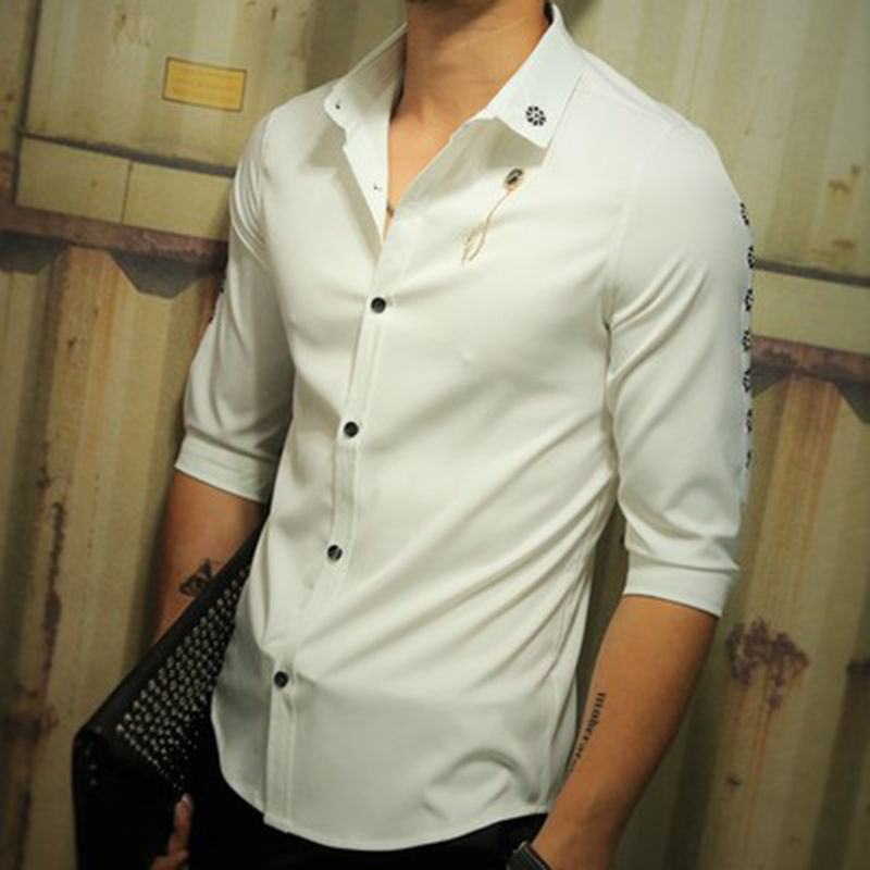 Dress shirt men flower embroieryat sleeve plus size 4xl for Mens navy dress shirt