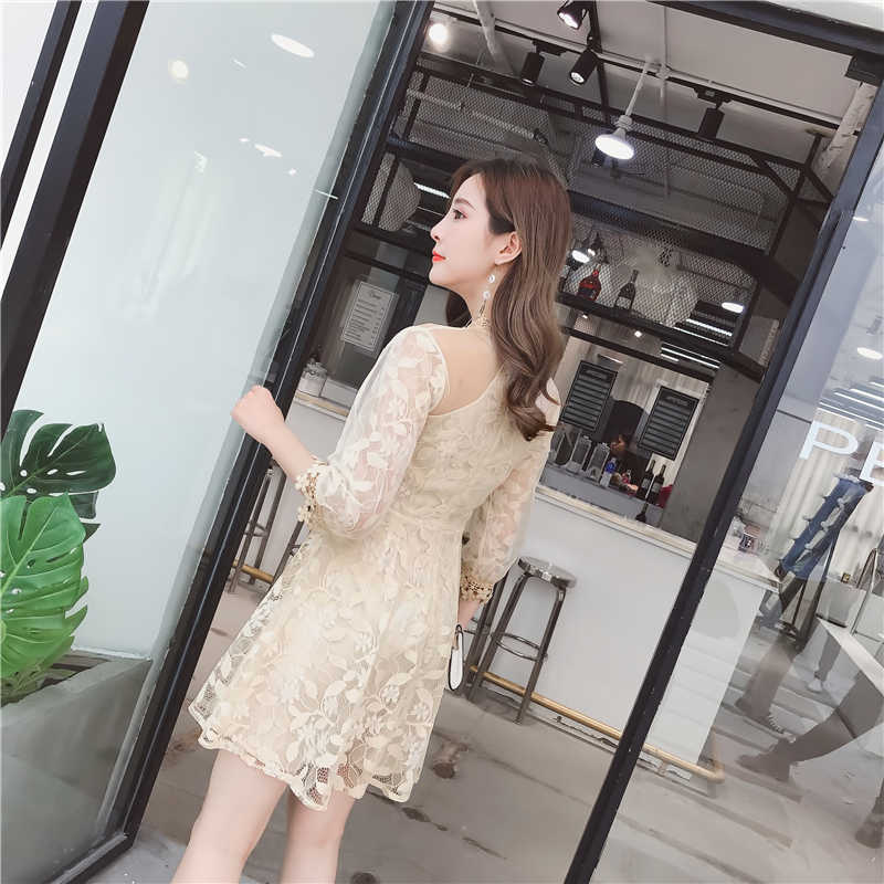 a645a2493cacf ... New Spring Cute Women dress Puff Sleeve Floral High Patchwork Slim Lace  She Accept Waist A