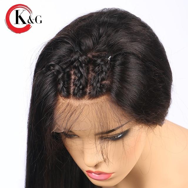 KUNGANG Droite Avant de Lacet de Cheveux Humains Perruques Partie Libre Noeuds Blanchis Brésiliens Remy Cheveux Perruque Avec Bébé Cheveux Pour Les Femmes 4