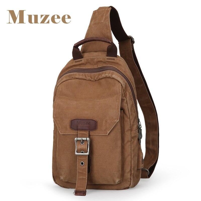 Muzee Sling Bag for men Canvas Crossbody bag with USB Charging Port Messenger Bag Shoulder Sling Bag fit for 9.7 inch 1812