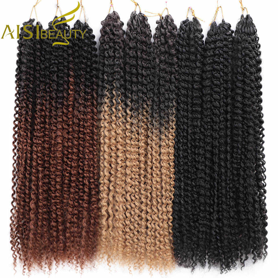 AISI красота страсть твист волосы 18 дюймов волна воды Омбре блонд богемные плетеные косы Синтетический Шнур наращивание волос черный
