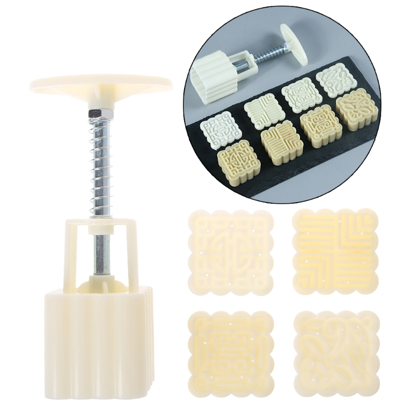 4 Flower Stamps Moon Cake Mould DIY Square Mooncake Mold Baking Decor Tool 50g