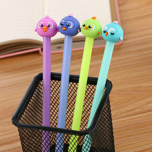 1pcs Kawaii office gel pen Creative cute bird pattern school stationery Supplies Black ink 0.5mm Pen refill(China)