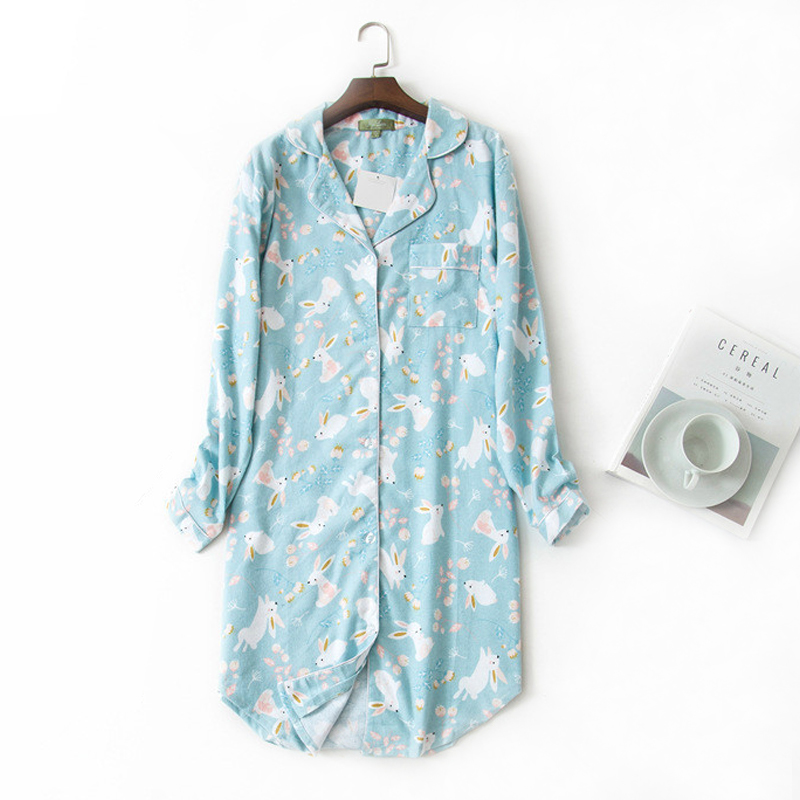 Autumn Women Sleepwear Cute Rabbit Print Nightdress Sexy   Nightgown   Women   Sleepshirts   Cotton Night Dress Home Nightwear Female