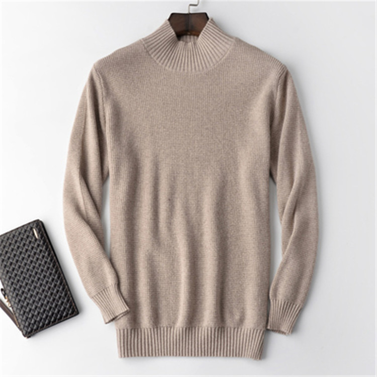 100%cashmere Solid Knit Men Fashion Half High Collar Loose H-straight Pullover Sweater 4color S-2XL Retail Wholesale