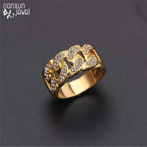 Gothic Ring Link-Chain Iced-Out Jewelry-Accessories Gold-Color Cubic-Zirconia Fashion