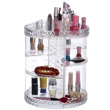 DIY 360 Degree Rotation Transparent Acrylic Cosmetics Storage Box Fashion Multi-function Detachable Makeup Beauty Organizer