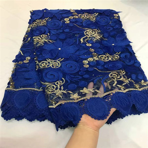 Image 4 - 2018 Nigerian Lace Latest African Lace 2018 Bridal Lace Fabric Red color African High Quality Rhinestones Lace Fabric 5Yards/Lot