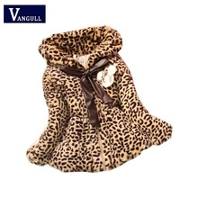 2016 autumn and winter  leopard faux fur coat autumn jackets for girls casual clothes baby thick fleece warm clothing with bag