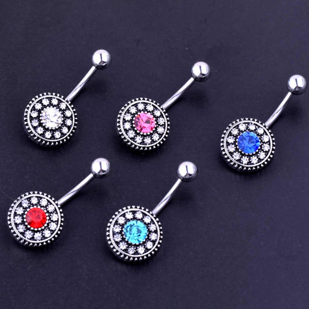 נשים תכשיטי גוף טבעות טבור פרח בציר קריסטל Pircing טבור טבעת יכולים dropshiping