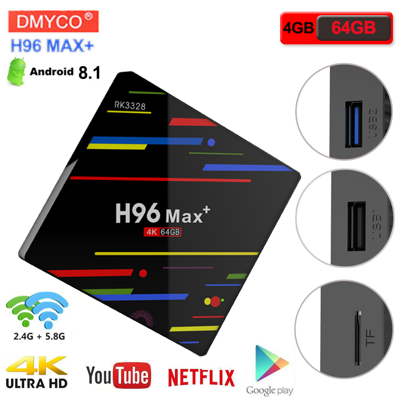 H96 MAX+ 4K tv box android 8.1smart RK3328 Quad-Core 4GB RAM 64GB ROM 2.4G 5G WiFi H.265 Set Top Box HDR10 USB3.0 Media Player