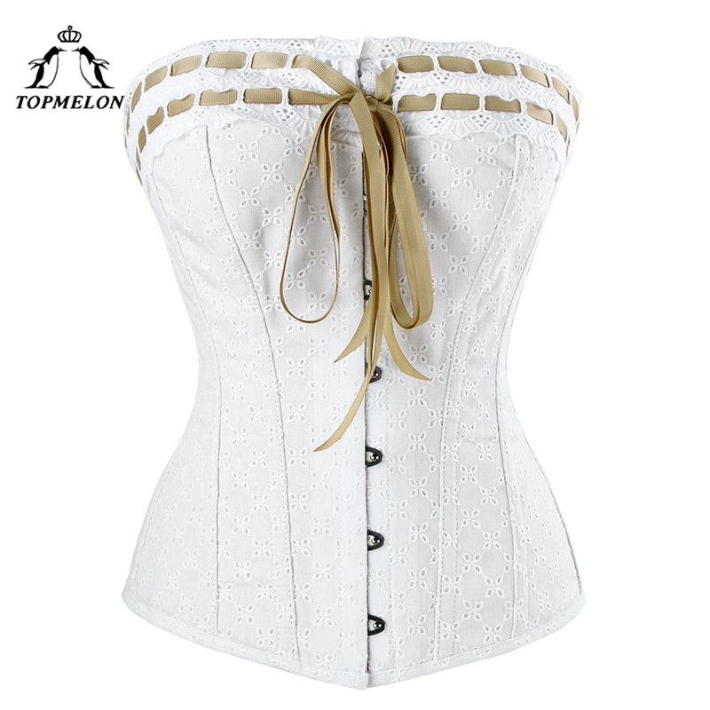 TOPMELON Steampunk Sexy   Corset     Bustier   Gothic Corselet   Corset   Women Vintage Retro White Floral Party Club Shows   Corset   Tops 6XL