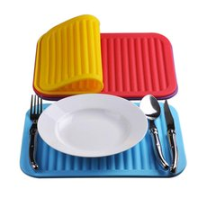 ilicone Square Dish Drying Mat Premium Heat Resistant Tableware Dishwaser Durable Pad Dinnerware Table Mat Placemat(China)
