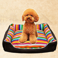4 Sizes Super Thick 75x100cm Dog Bed Rainbow Patterns Cama Perro Sofa Mat Dog House Hondenmand Pet Bed Dog Beds For Large Dogs