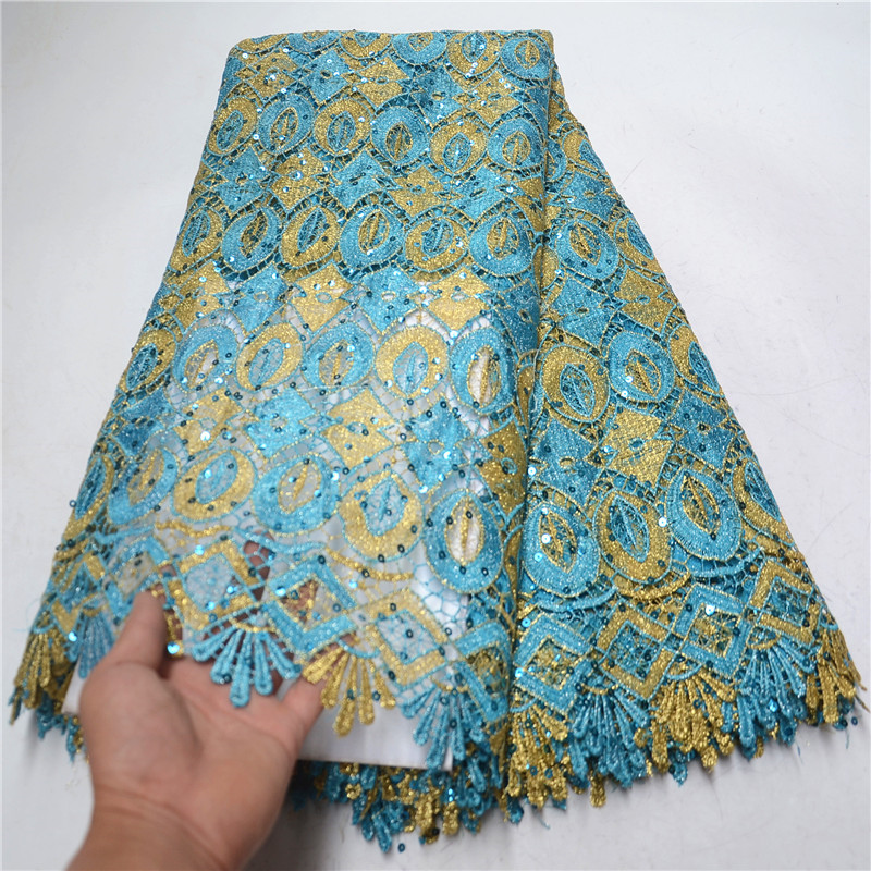 2019 New design hot sale Fashion African guipure lace high quality Nigerian sequins lace fabric cord