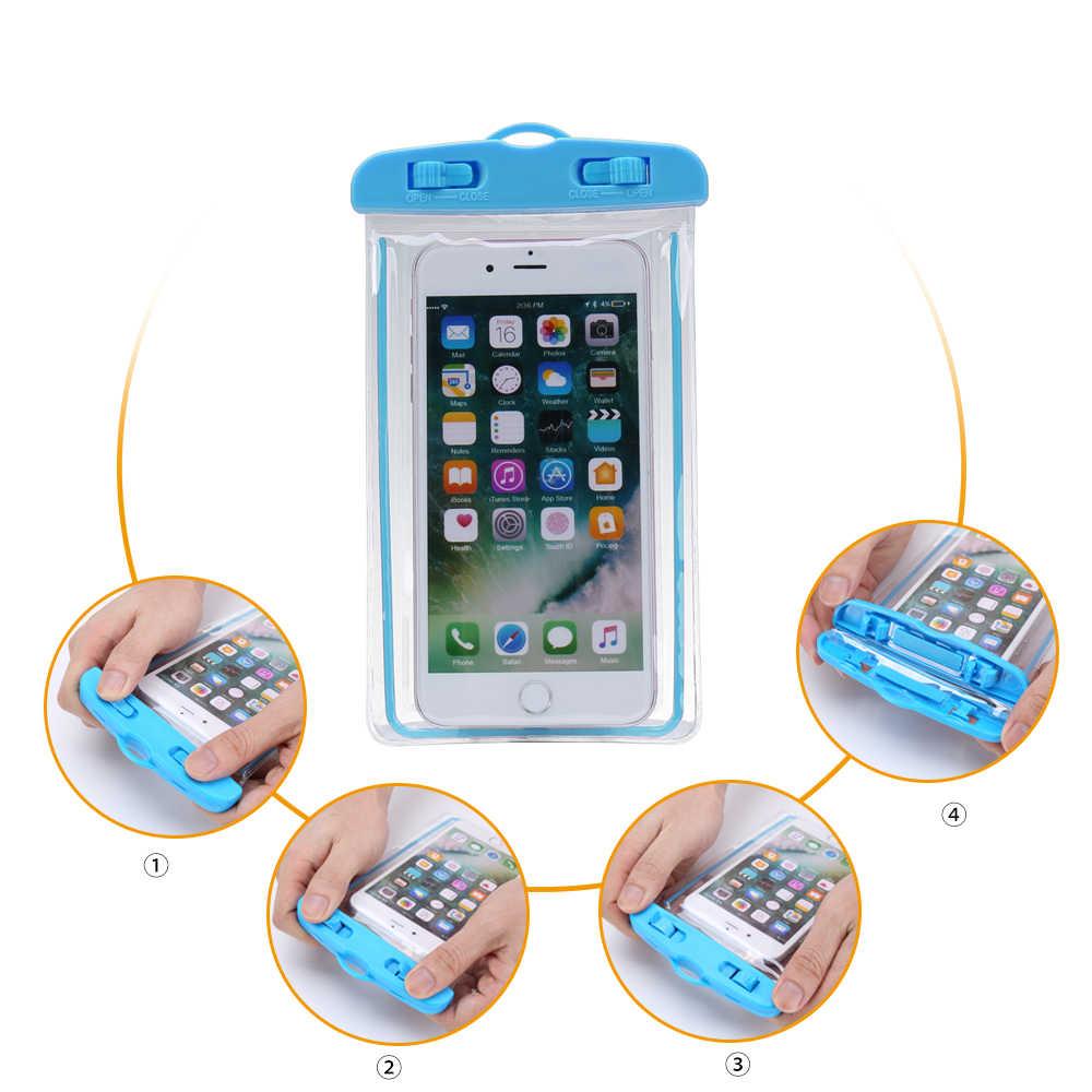 """FLOVEME Caso Do Smartphone Para O Telefone À Prova D' Água Bolsa Saco de 6.0 """"XR Debaixo D' Água Caso de Telefone Luminoso Para iPhone Huawei Xiaomi Universal"""