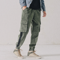 Mens Casual Pants Japanese Harem Trousers Pockets Loose Pants Carrot Tapered Slim Fit 3Colors