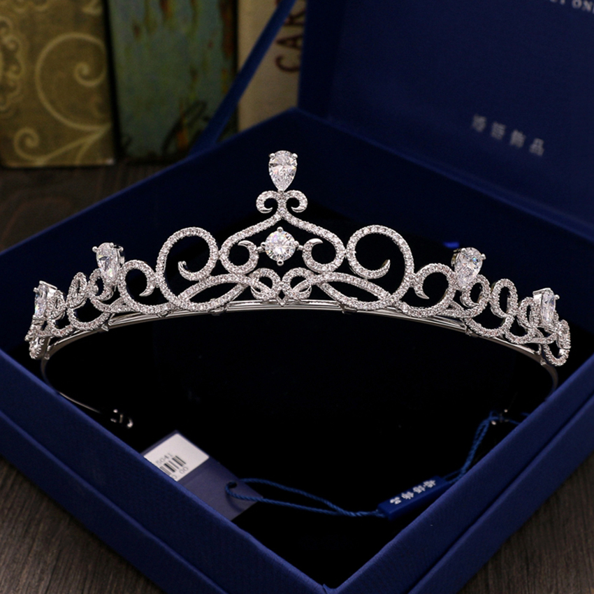 Noble Zircon Tiara Rhinestone Crown for Bride Wedding Hair Accessories Pageant Crowns Crystal Tiaras and Crowns Headband Tiaras 03 red gold bride wedding hair tiaras ancient chinese empress hat bride hair piece